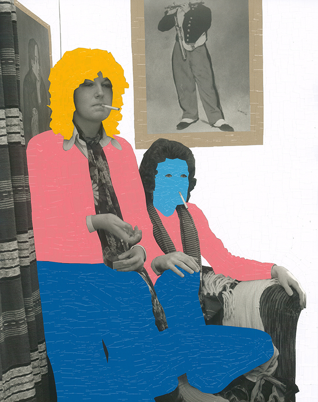 Ans Westra & Wayne Youle  They had no choice but to wear the same pink top and blue pants, but they genuinely loved the same artwork and brand of cigarettes , 1975-2016 Sign vinyl on silver gelatin print 363 x 287 mm  _______