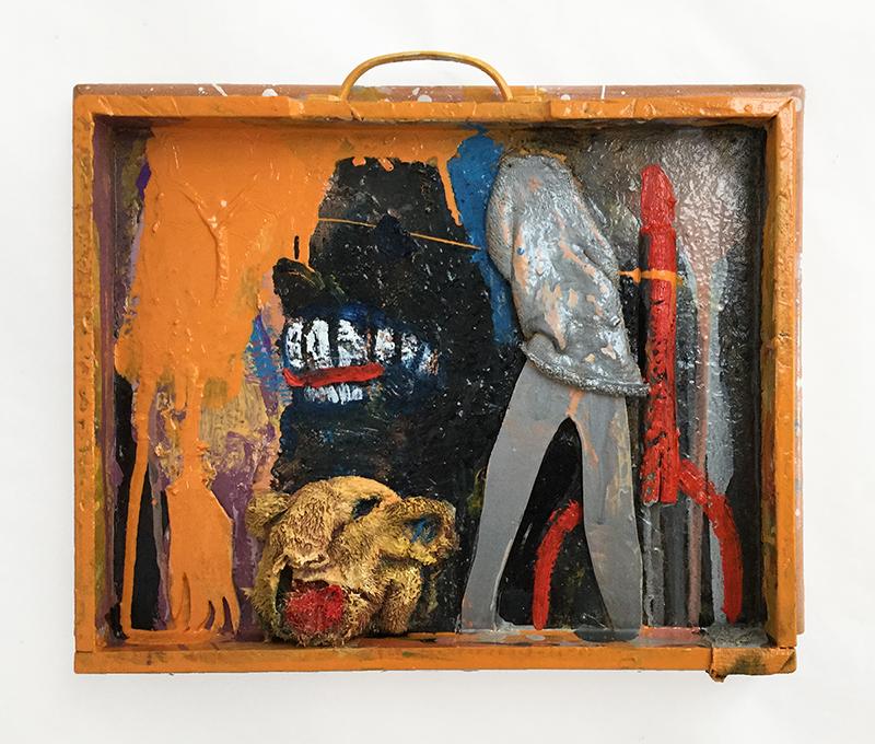 Rob McLeod  Hand, Head, Head, Headless Hero, Rocket , 2016 Oil, enamel, fabric, ply 370 x 290 x 40 mm  _______