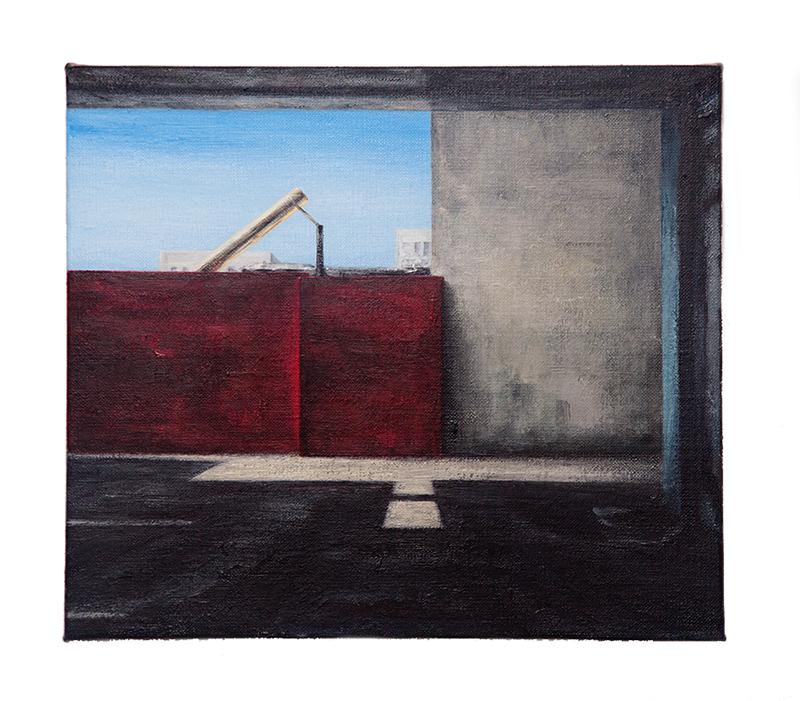 Daniel Unverricht  Cinch , 2016 Oil on linen 355 x 405 mm [Private Collection]  _______