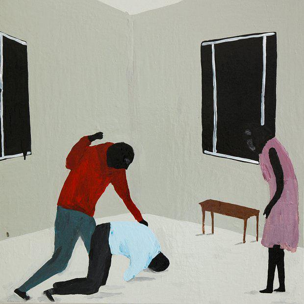 Richard Lewer  Love triangle , 2010 Enamel on canvas 750 x 750 mm  _______