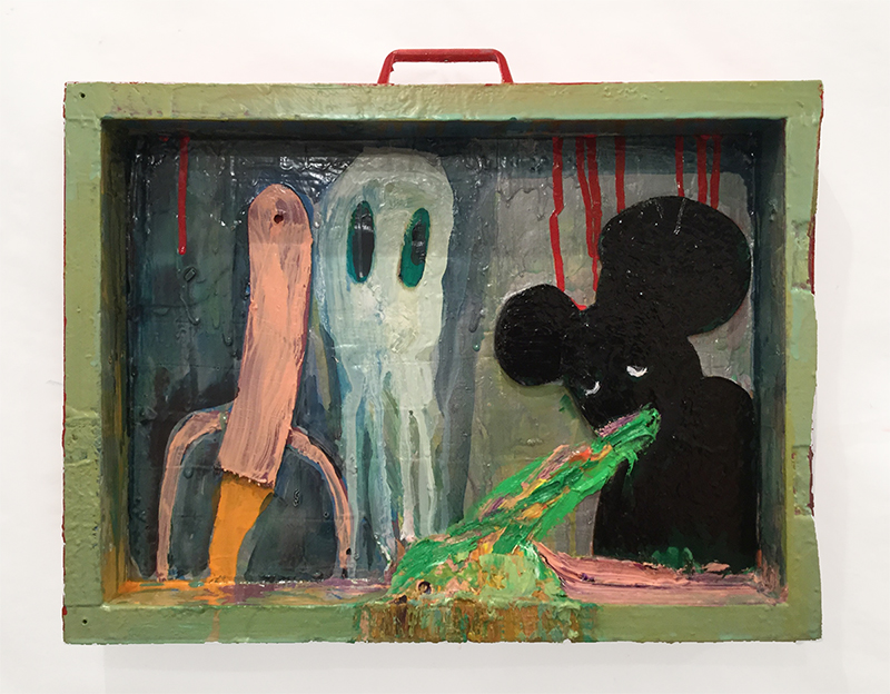Rob McLeod  Rocket, Spook and Mickey Answering the German Boys , 2016 Oil, enamel, ply 400 x 295 x 55 mm  _______