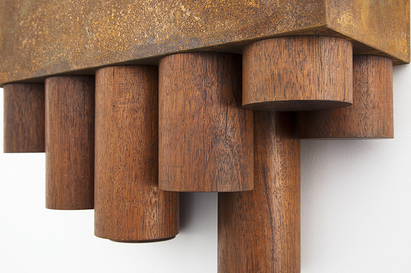 Anton Parsons  Digital , 2016 (detail) Corten steel and wood 430 x 490 x 195 mm [Private collection]  _______