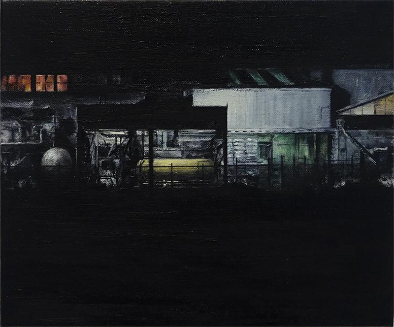 Daniel Unverricht  Mechanix , 2017 Oil on linen 250 x 300 mm [Private collection]  _______
