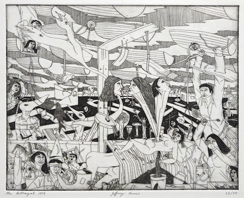 Jeffrey Harris  The Betrayal , 1978 Etching 200 x 253 (image size) Edition of 50 [Private Collection]  _______