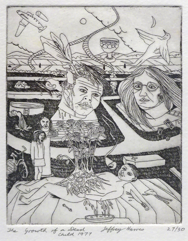 Jeffrey Harris  The Growth of a Dead Child , 1971 Etching 125 x 95 mm (image size) Edition of 30  _______