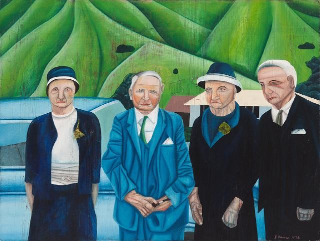 Jeffrey Harris  Grandparents at Okains , 1976 Oil on board 380 x 465 mm [Collection of the Christchurch Art Gallery Te Puna O Waiwhetu]  _______