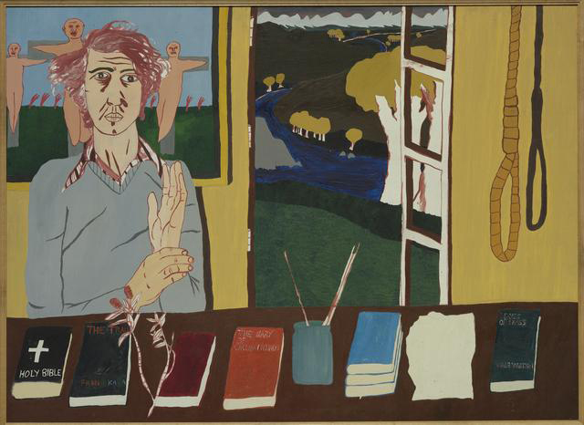 Jeffrey Harris  Self portrait , 1970 Oil on board 875 x 1205 mm [Collection of Te Papa Tongarewa Museum of New Zealand]  _______