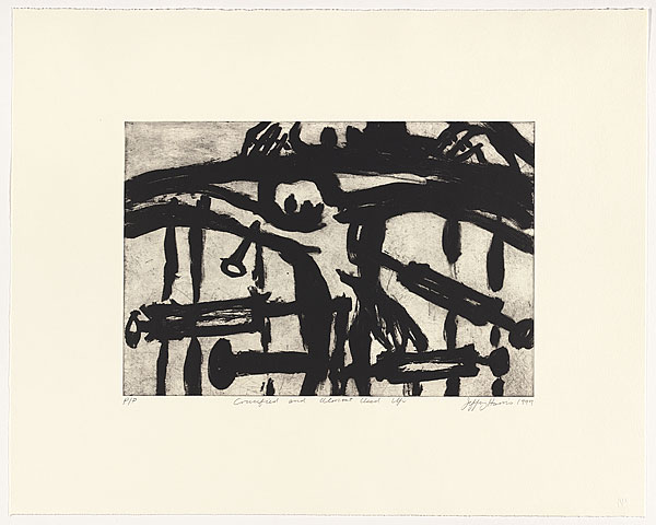Jeffrey Harris  Crucified and almost used up , 1999 Aquatint 396 x 592 mm [Collection of the National Gallery of Australia]  _______