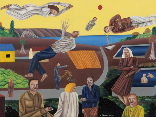Jeffrey Harris  Figures in a Landscape , 1977 Oil on board 294 x 400 mm [Collection of Te Papa Tongarewa Museum of New Zealand]  _______