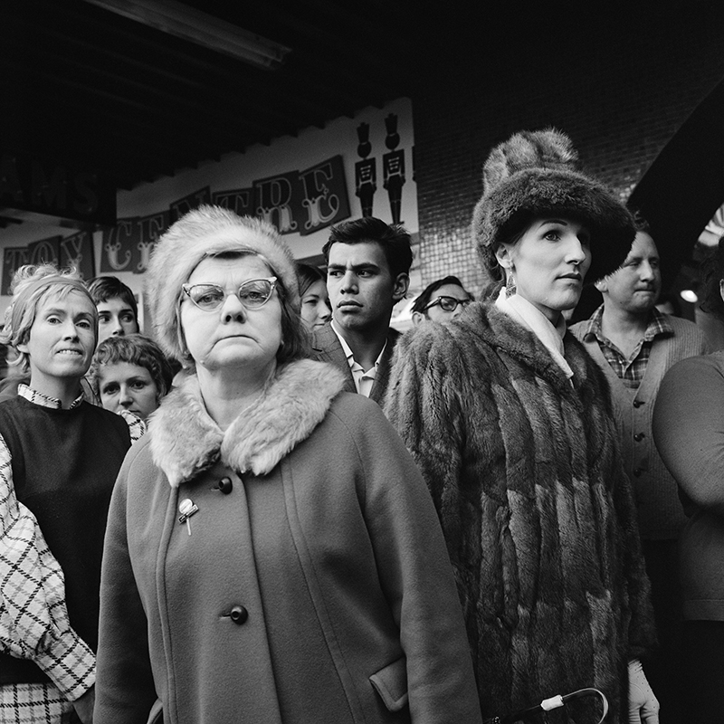 Ans Westra  Watching Miss NZ Contestants, Cuba Mall, Wellington , 1971 Pigment print on Hahnemuhle Photo Rag 380 x 380 mm Edition of 25 $1,800 incl. GST unframed, $2,150 incl. GST framed  ______