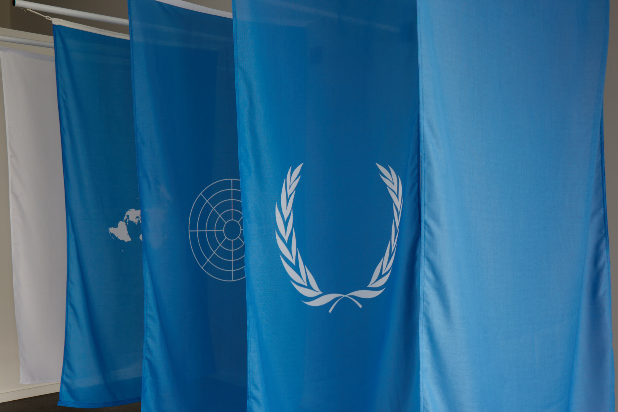 Wayne Youle  (UN)United Nations with a glimpse of blue sky and a dash of surrender,  2017 (detail) Five hand dyed flags and fixings, each flag 1800 mm x 900 mm Edition of 3   ______