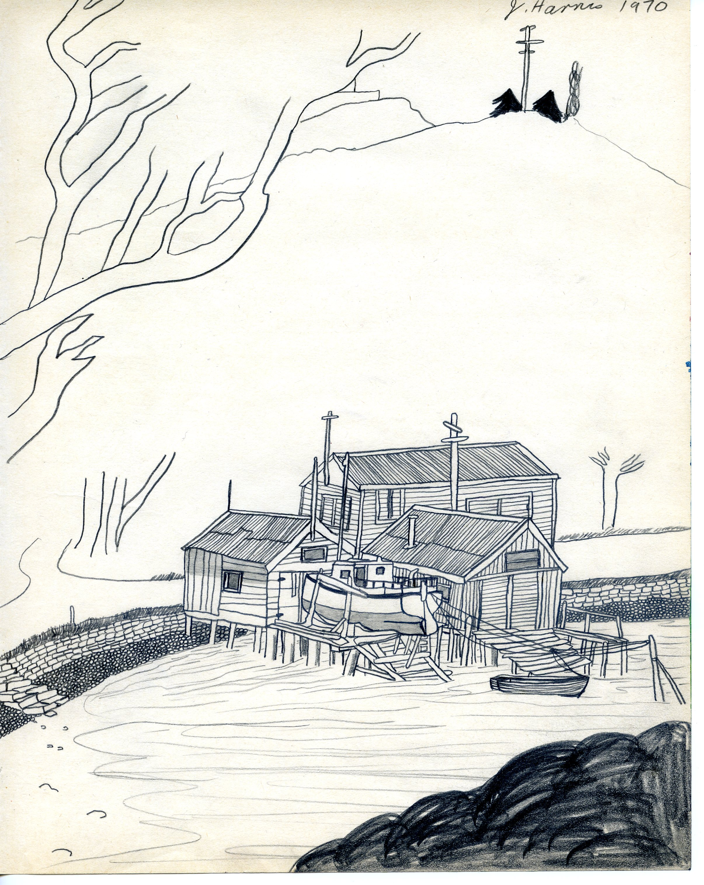 Jeffrey Harris  Port Chalmers , 1970 Pencil on paper 255 x 530 mm [Private collection]  __________