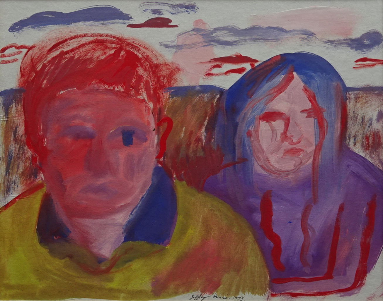 Jeffrey Harris  Two figures in landscape , 1973 Gouache on paper 260 x 330 mm [Private collection]  _____