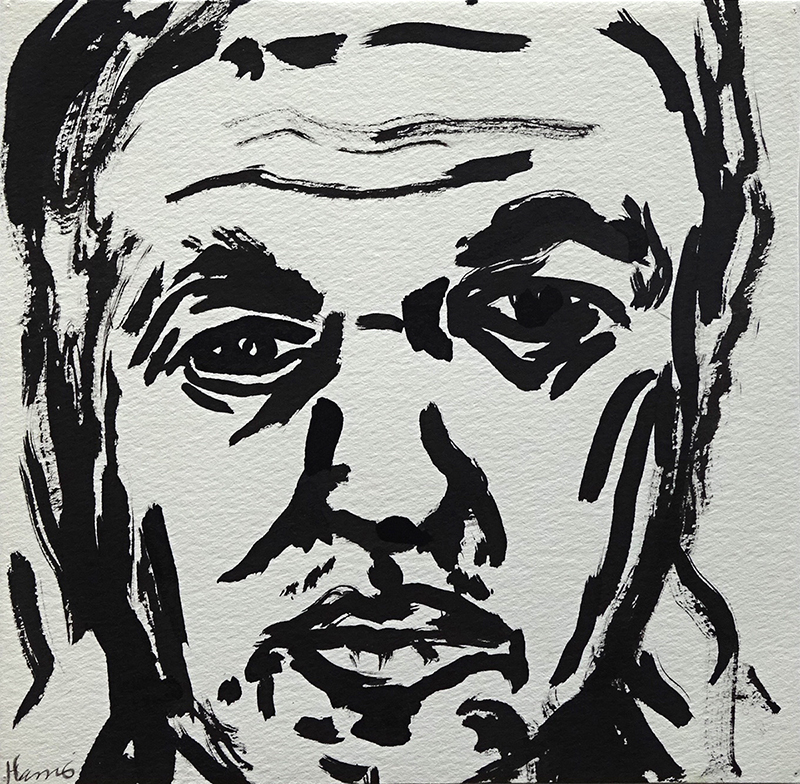Jeffrey Harris  Self portrait , 2001 Ink on paper 182 x 187 mm [Private collection]  _______