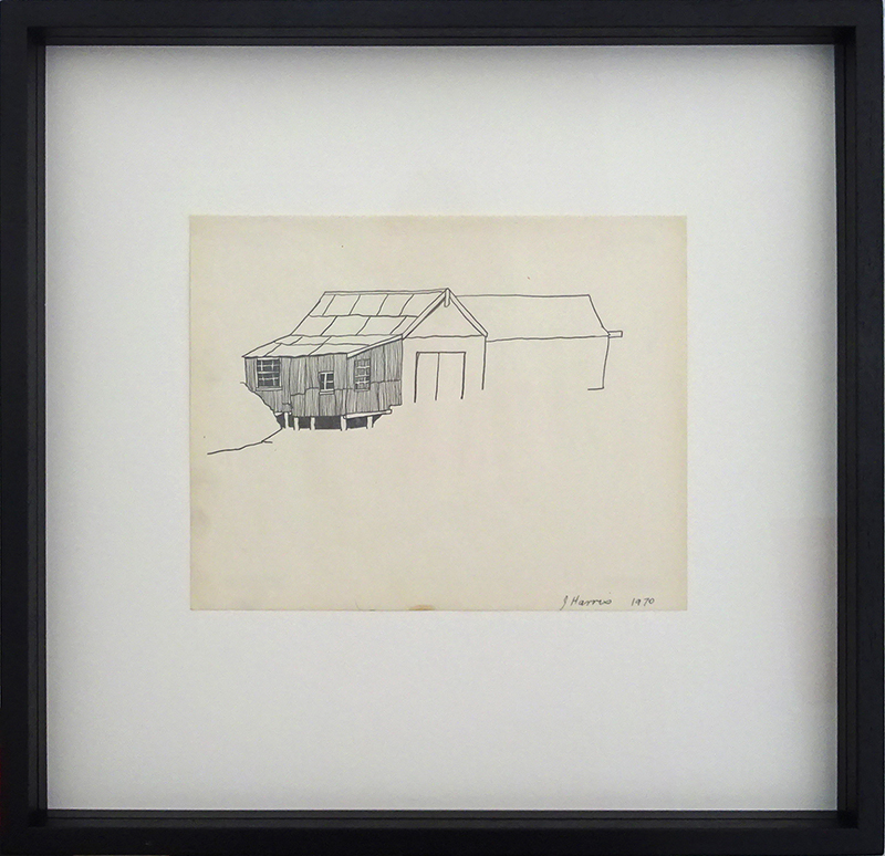 Jeffrey Harris  Boat sheds at Port Chalmers , 1970 Framed pencil on paper 220 x 255 mm (paper size)  ______