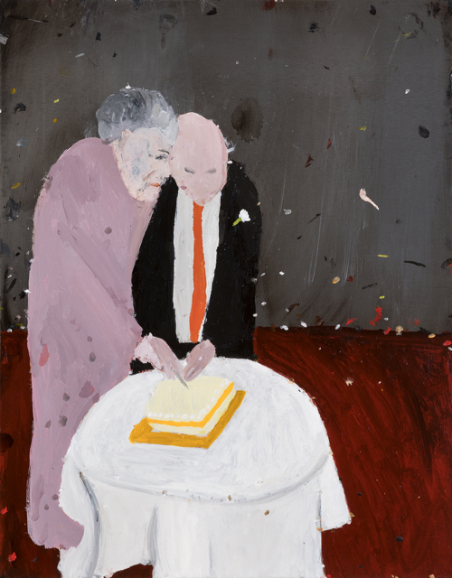 Richard Lewer  Cutting of the cake , 2017 Oil on epoxy coated steel 480 x 380 mm  ______