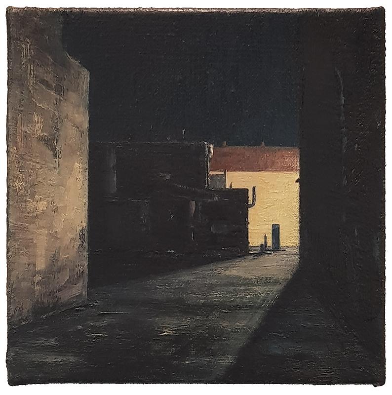 Daniel Unverricht  Haze , 2017/18 Oil on linen 200 x 200 mm [Private collection]  _______