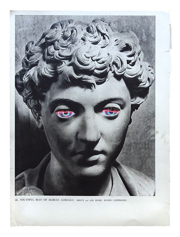 Rob Cherry  Youthful Bust of Marcus Aurelius , 2018 Framed collage 320 x 220 mm [Private collection]  _______
