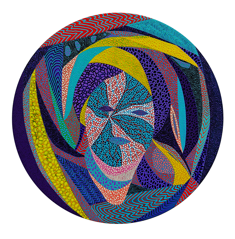 Arie Hellendoorn  Warp,  2018 Acrylic on board 400 mm diameter  ______