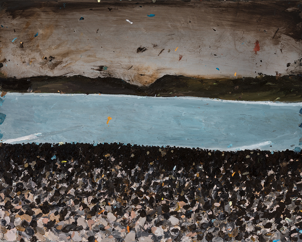 Richard Lewer  Southern end of Manu Bay,  2018 oil on epoxy coated black steel 380 x 485 mm [Private collection]  ______