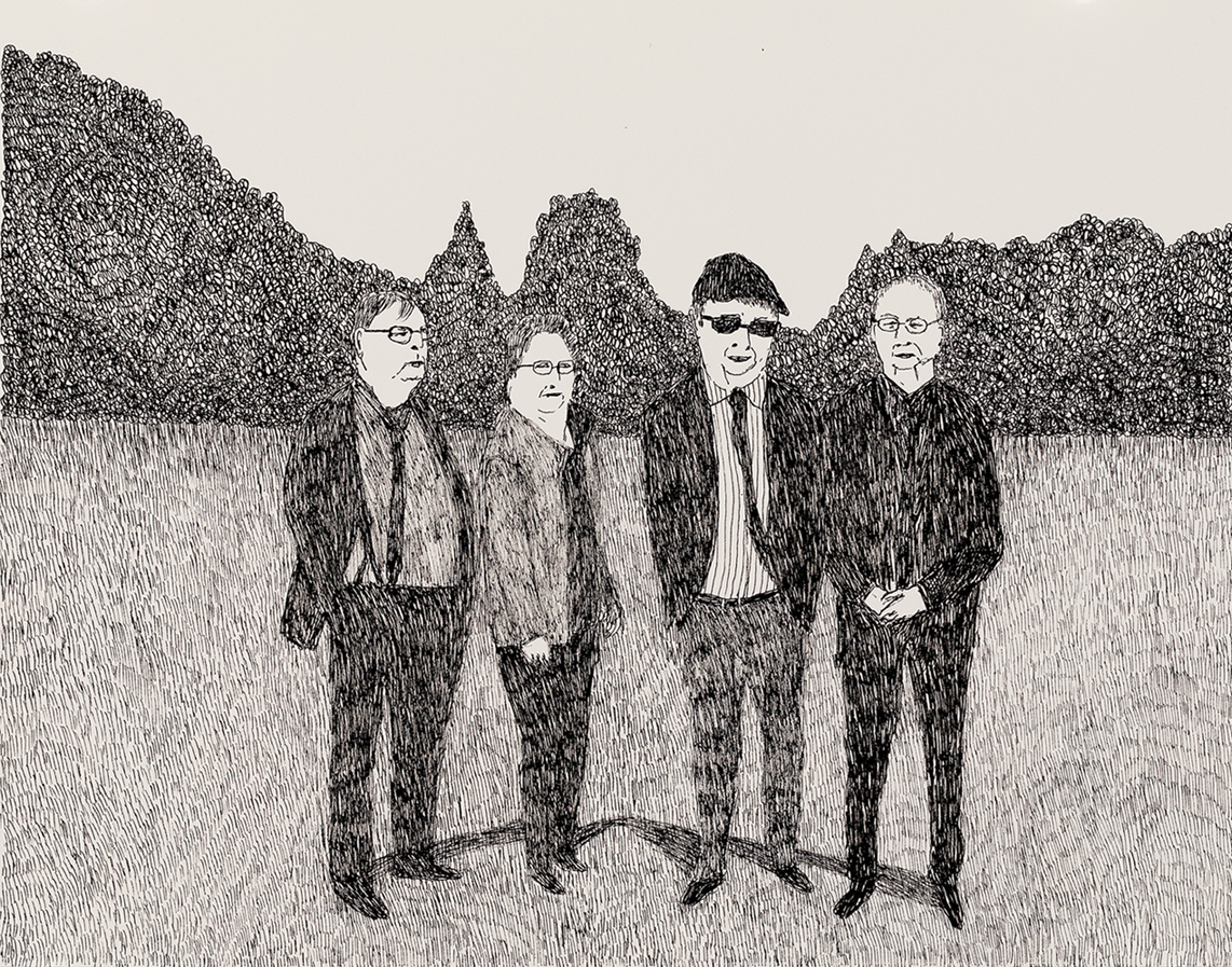 Richard Lewer  Dad with his brothers Rex and Lindsay and his twin sister Beverley,  2018 Archival ink pen on museum rag board 370 x 290 mm  ______