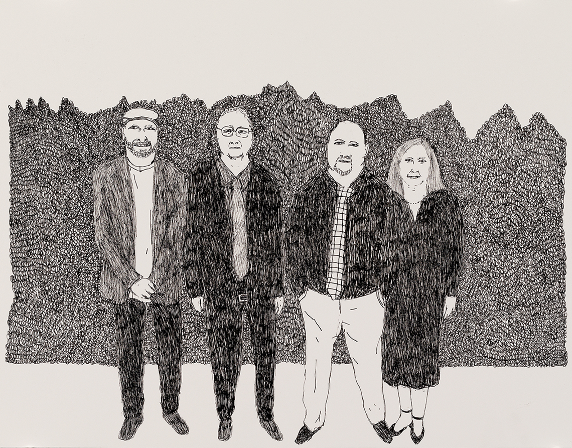 Richard Lewer  Dad with me, my brother and sister,  2018 Archival ink pen on museum rag board 370 x 290 mm  ______