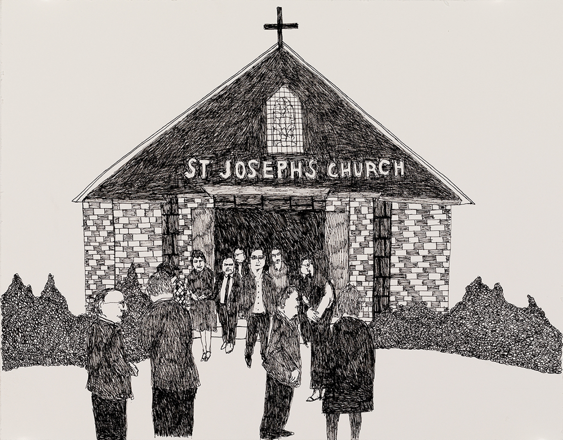 Richard Lewer  Friends and family gathered at St Joseph's before the service,  2018 Archival ink pen on museum rag board 370 x 290 mm  ______