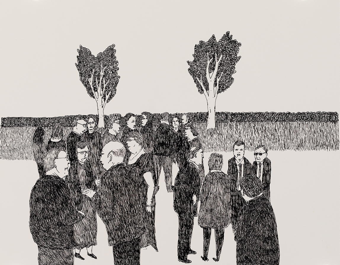 Richard Lewer  Friends and family gathered at the cemetery,  2018 Archival ink pen on museum rag board 370 x 290 mm [Private collection]  ______
