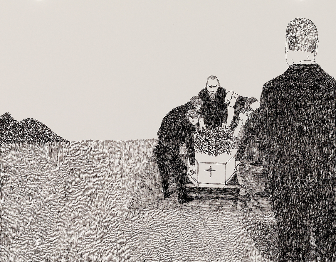 Richard Lewer  Pall bearers placing Mum at the grave site,  2018 Archival ink pen on museum rag board 370 x 290 mm  ______