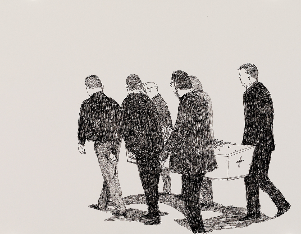 Richard Lewer  Mum's pall bearers - me, Stephen, John,   David, Colin and Reg , 2018 Archival ink pen on museum rag board 370 x 290 mm [Private collection]  ______