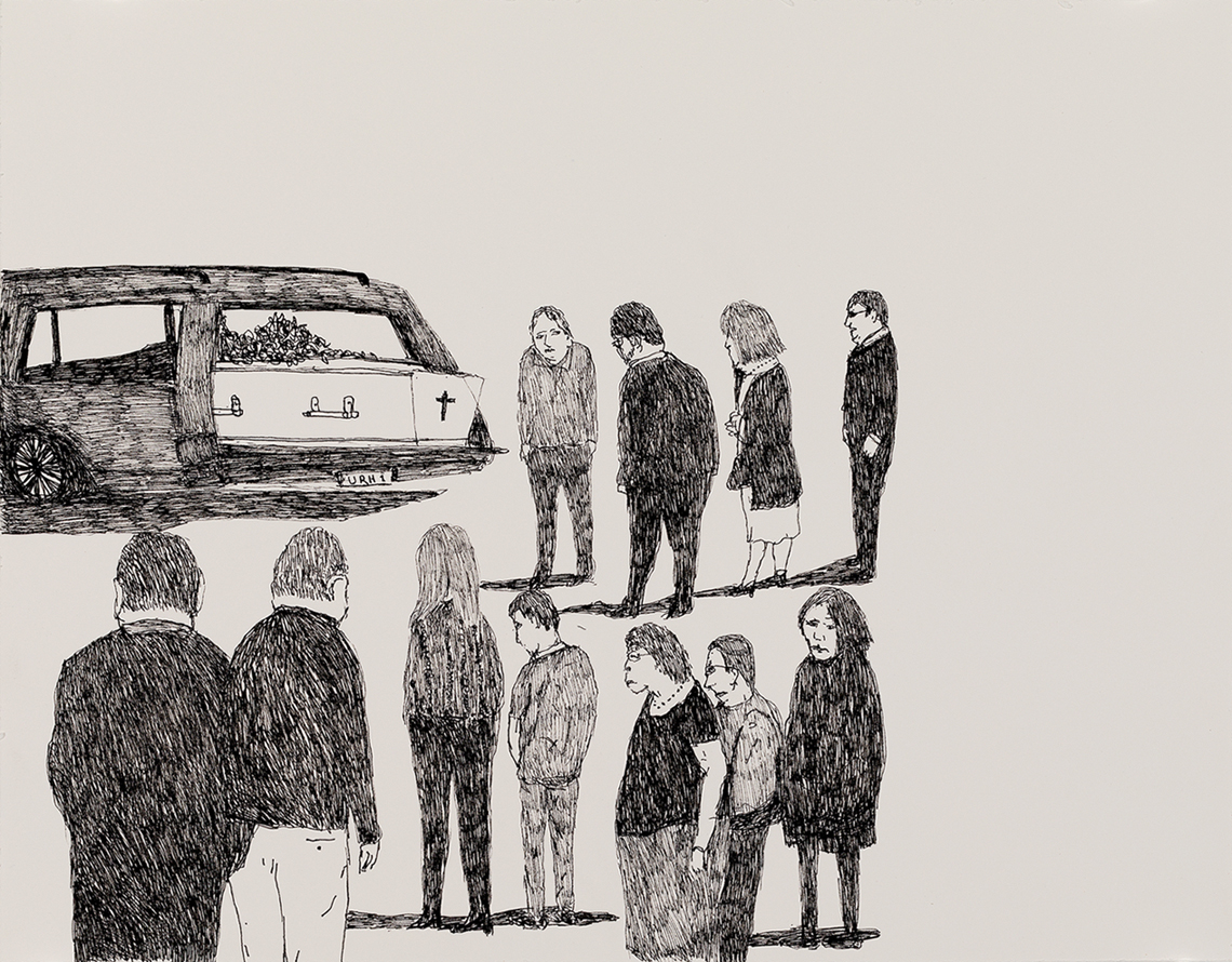 Richard Lewer  Mum's coffin in the hearse before the funeral service,  2018 Archival ink pen on museum rag board 370 x 290 mm  ______