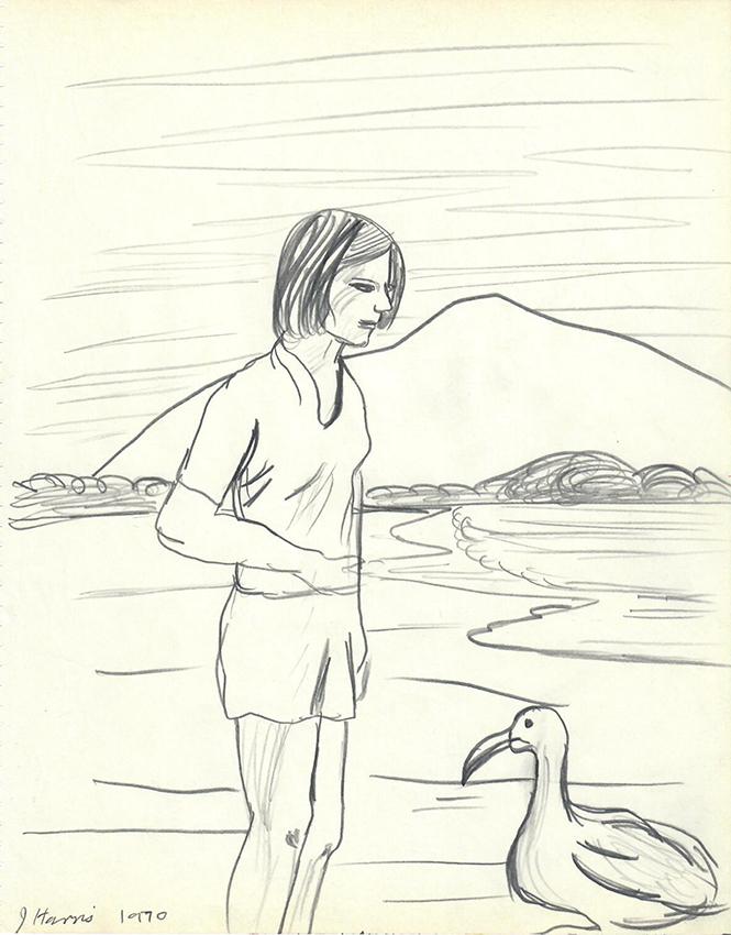 Jeffrey Harris  Girl with Bird , 1970 Pencil on paper 255x 205 mm  ______