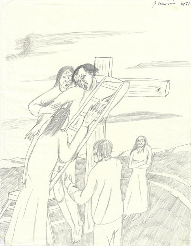 Jeffrey Harris  Deposition , 1971 Pencil on paper 255 x 205 mm  ______