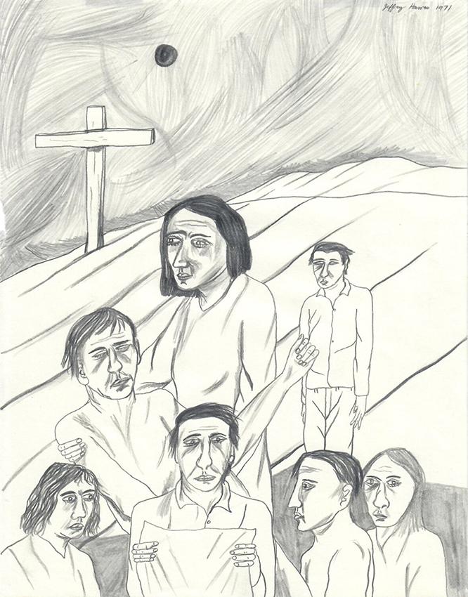 Jeffrey Harris  Figures with Cross , 1971 Pencil on paper 255 x 205 mm  ______