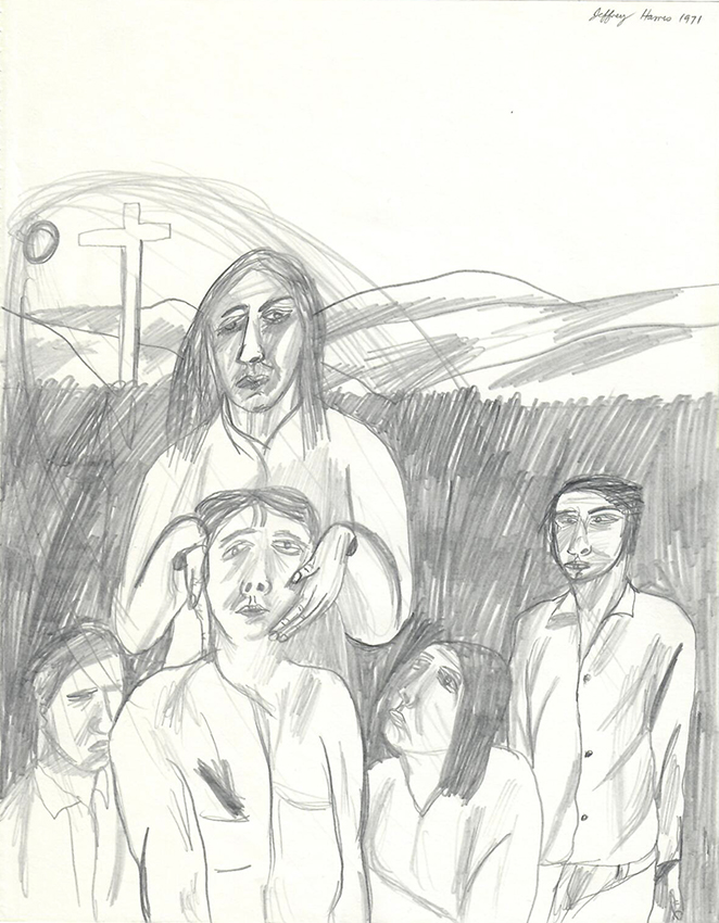 Jeffrey Harris  Five Figures with Crucifixion , 1971 Pencil on paper 255 x 205 mm  ______