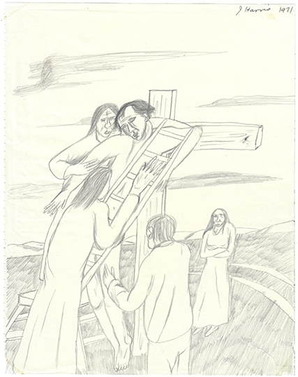 Jeffrye Harris  Figures with Crucifixion , 1971 Pencil on paper 255 x 205 mm  _______