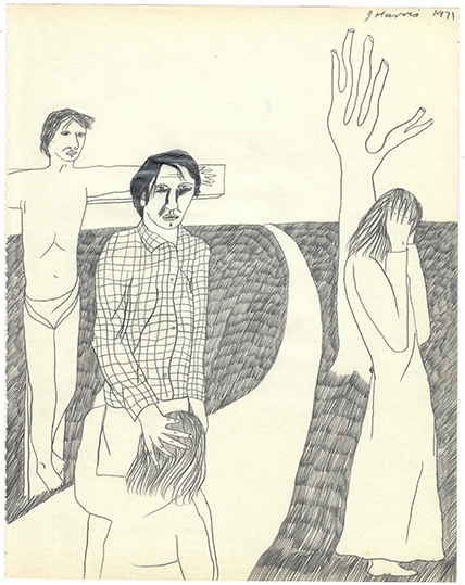 Jeffrey Harris  Figures with Crucifixion , 1971 Pencil on paper 255 x 205mm  _______