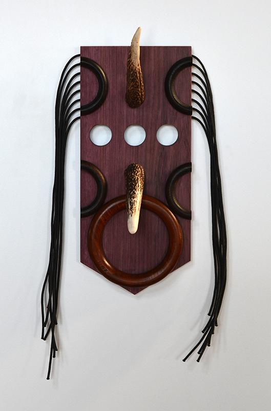 Wayne Youle  Chuck , 2018 Purpleheart, oak, dear antler and black nylon cord 410 x 200 x 110 mm  _______