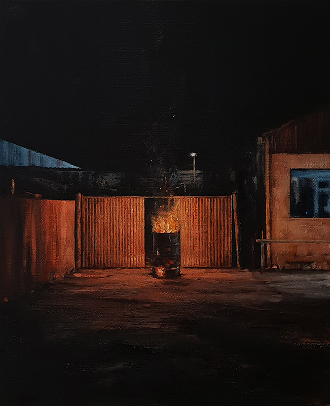 Daniel Unverricht  Chafe , 2018 Oil on linen 560 x 460 mm [Private collection]  _______