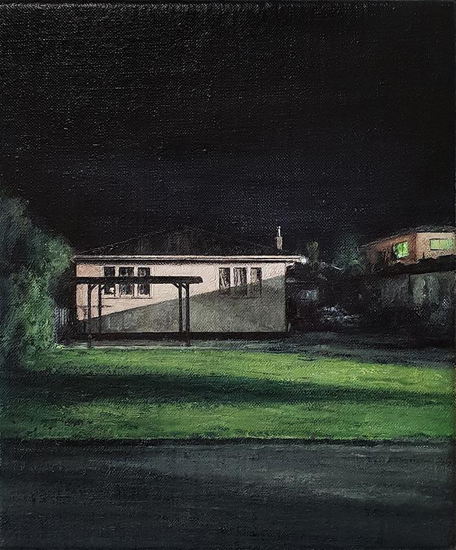 Daniel Unverricht  Merge , 2018 Oil on linen 300 x 250 mm [Private collection]  _______