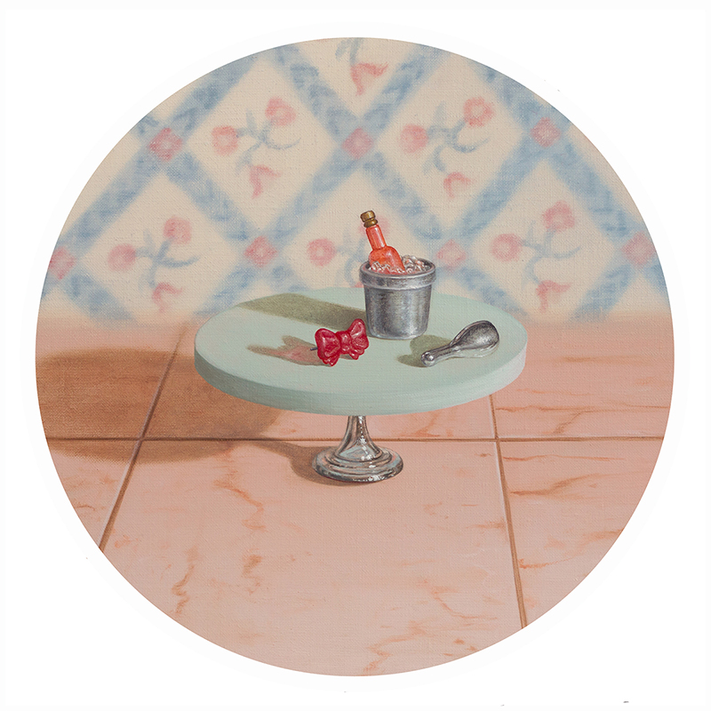 Emily Hartley-Skudder  Afternoon Tea Since 1883 , 2018 Oil on linen 240 x 240 mm  _______