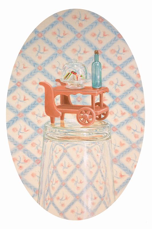 Emily Hartley-Skudder  Room Service , 2018 Oil on linen 270 x 185 mm  _______