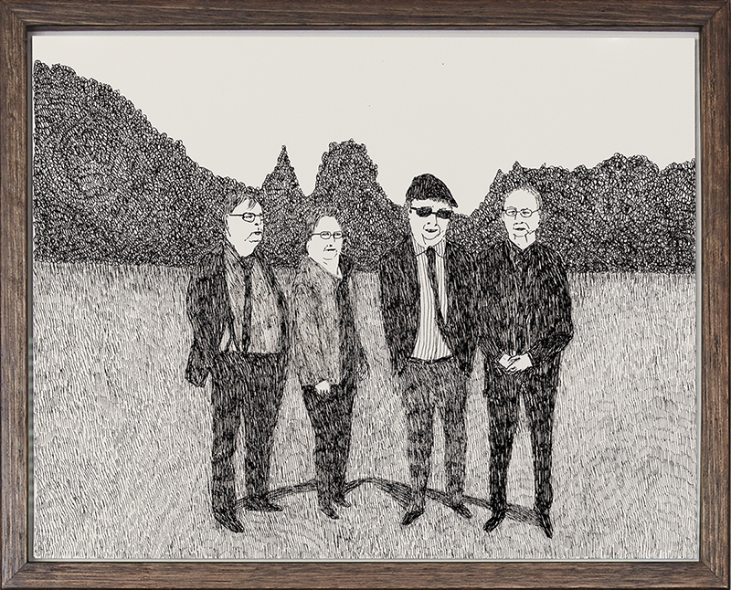 Richard Lewer  Dad with his brothers Rex and Lindsay and his twin sister Beverley , 2018 Archival ink pen on museum rag board 290 x 370 mm  _______