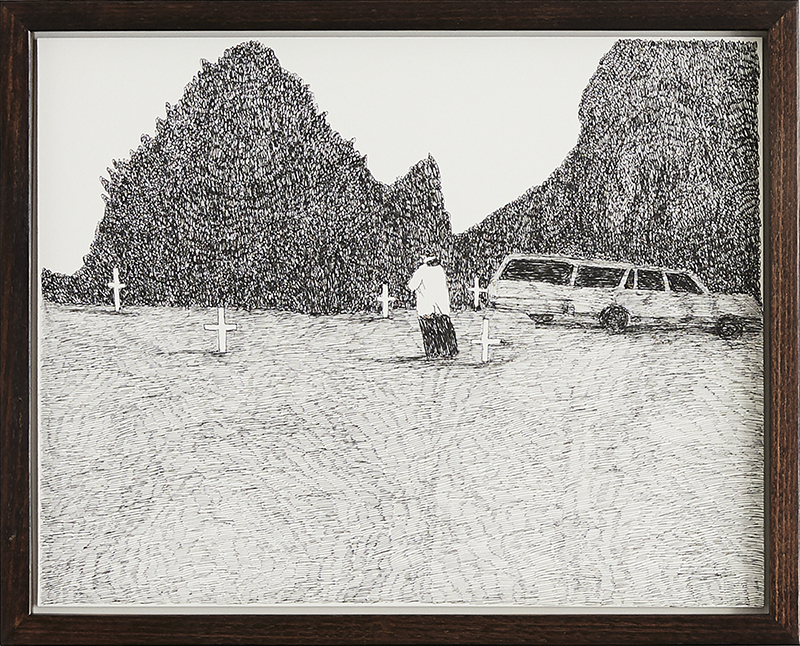 Richard Lewer  Father Gerald Boyce before the committal service , 2018 Archival ink pen on museum rag board 290 x 370 mm [Private collection]  _______