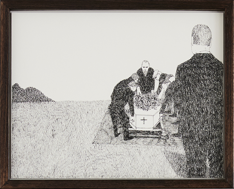 Richard Lewer  Pall bearers placing Mum at the grave site , 2018 Archival ink pen on museum rag board 290 x 370 mm  _______