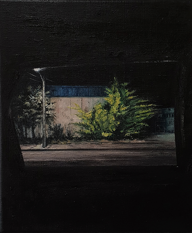 Daniel Unverricht  Point , 2018 Oil on linen 300 x 250 mm [Private collection]  _______