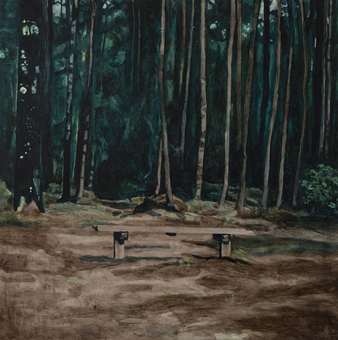 Lily McRae  Untitled (bench) , 2018 oil on board 595 x 595 mm [Private collection]  _______