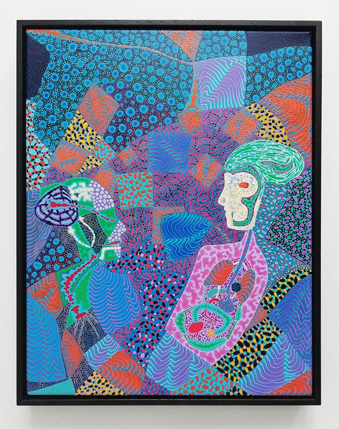 Arie Hellendoorn  Contact , 2018 Framed acrylic on linen 460 x 350 mm  ______