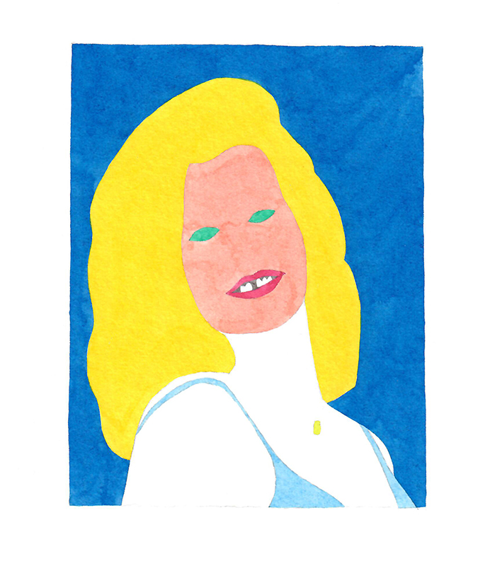Wayne Youle  Carmen Rupe in the style of 60s popular culture , 2018 watercolour on paper 130 x 110 mm  _______