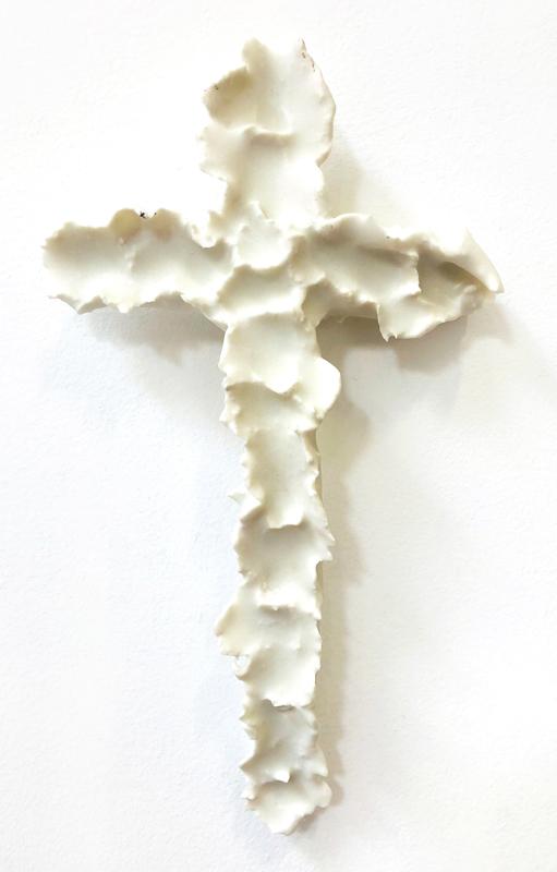 Richard Lewer  Crucifix #12,  2018 Fired stoneware 235 x 130 mm  _______